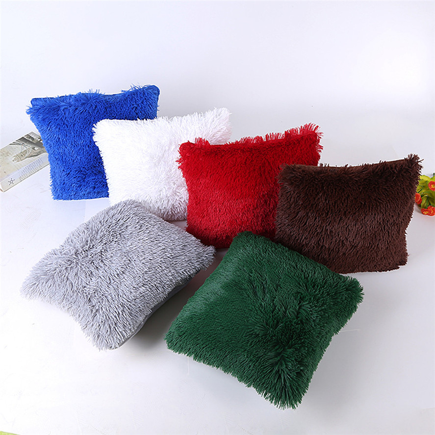 Sofa Pillows Soft: New Plush Square Cushion Cover 45x45cm 1pc Soft Plush
