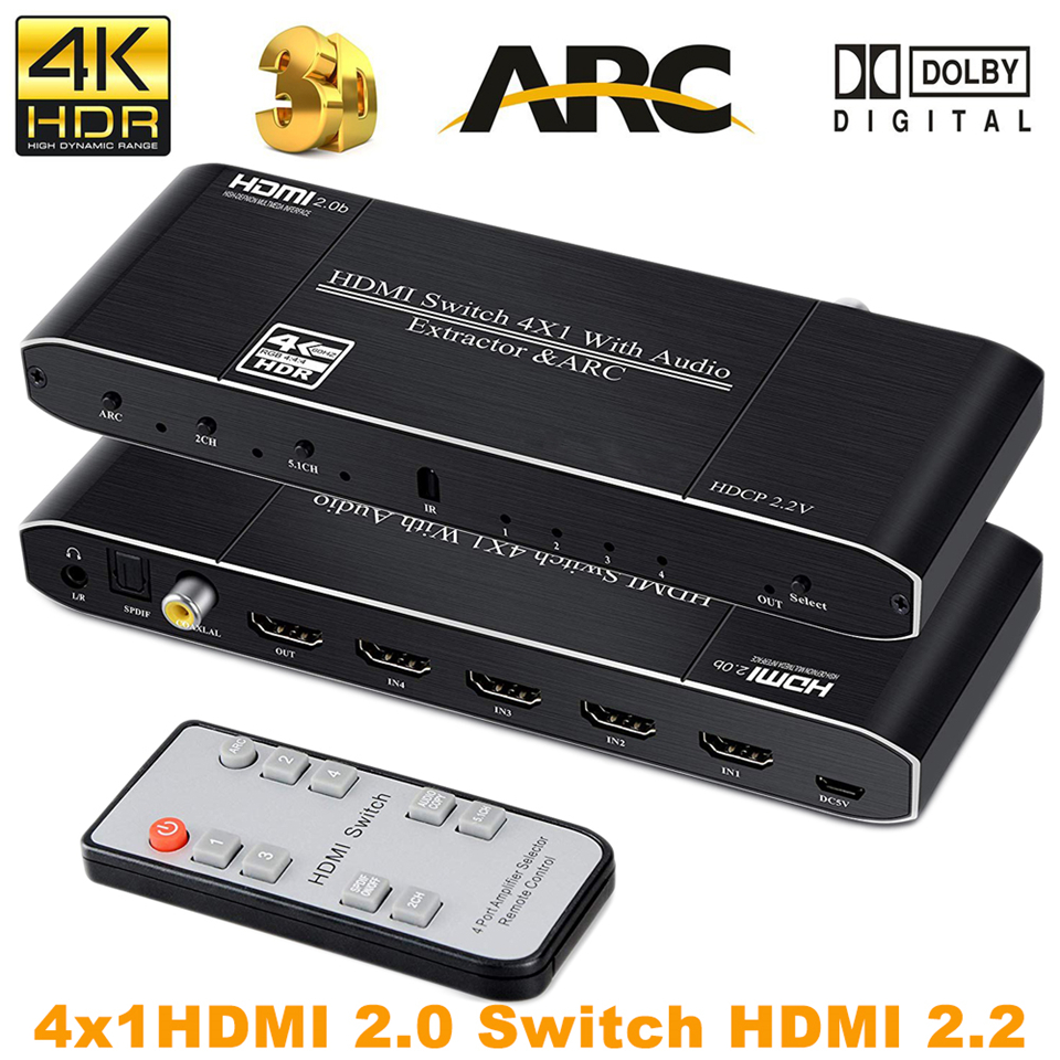 2019 4K HDMI Switch Switcher with Remote Optical Toslink Coaxial 4x1 HDR HDMI Switch 4 Port