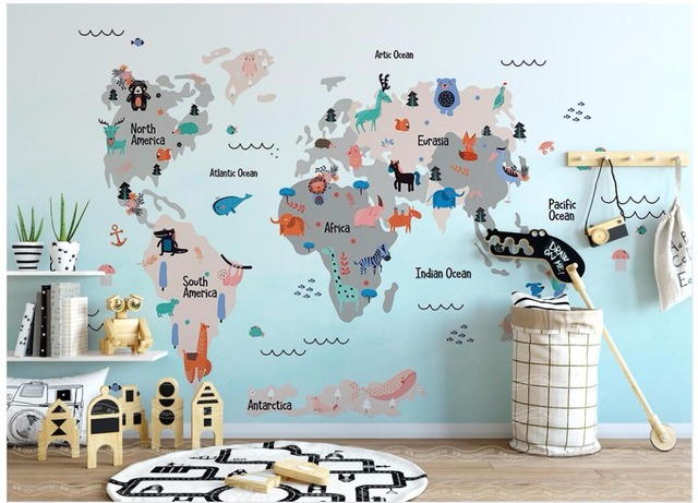 Kids world map wallpaper mural muralswallpaper t custom mural 3d photo wallpaper hand painted cartoon world animal map childrens room 3d wall gumiabroncs Image collections