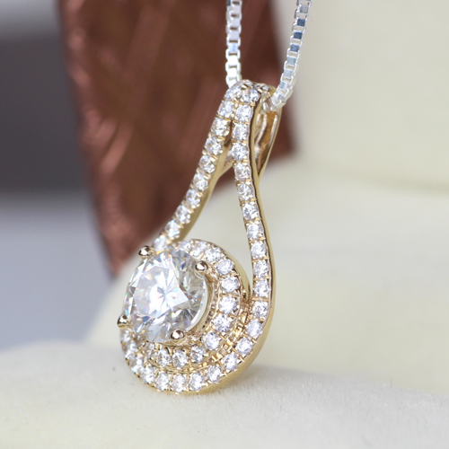 shop brilliant moissanite products wanelo cut halo white on best custom gold diamond pendant made round