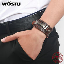 100% Genuine Leather Bracelet Wrap Vintage Punk Brown Cuff Wide Bangles For Men Women Unisex Jewelry Gift XCJ0339(China)