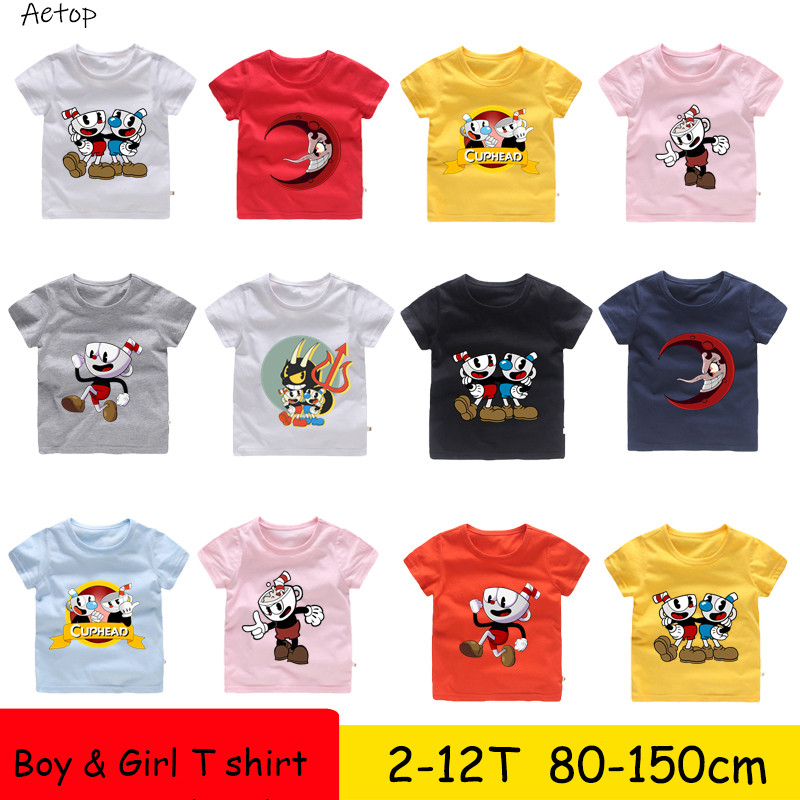 2T-12T T-Shirt Short Sleeve kids Tshirt Cuphead And Mugman Deal With Devil T Shirt children summer Clothes,b9092T-12T T-Shirt Short Sleeve kids Tshirt Cuphead And Mugman Deal With Devil T Shirt children summer Clothes,b909
