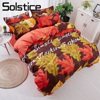 Solstice Home Textiles Leaf Cartoon Fashion Simple Cute Bedding Sets Child Twin Full Queen Size Pillowcase Duvet Cover Bed Sheet