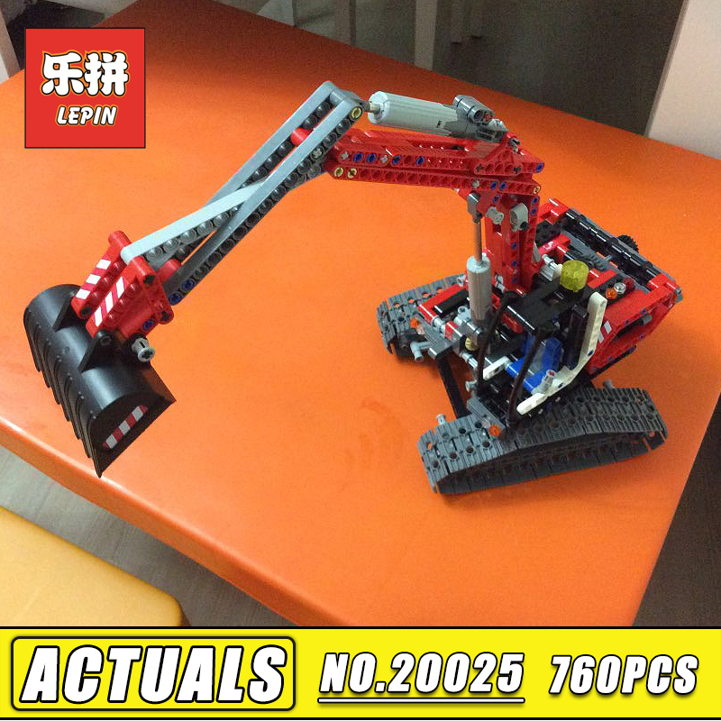 In Stock 760pcs Lepin Technic 20025 the Red Excavator Set compatible 8294 Building Blocks Bricks Educational Toy Children Gift t3184b educational toy coin slide chip game toy playing toy set