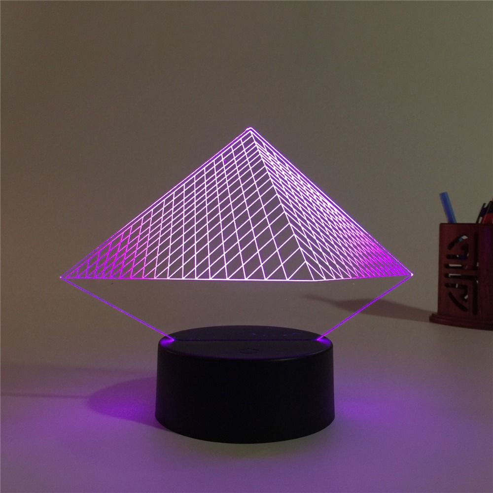 2018 New Pyramid 3D USB Led night light 7 Colors Changing Christmas Mood Child Kids living/bedroom table/desk Lamp new 3d retro ancient sailing sea boat ship led lamp chinese style 7 colors changing illusion night light usb table desk decor