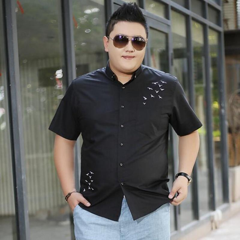 fb4ca11ab45d4 Купить Мужская одежда больших размеров, черная рубашка с короткими  рукавами, Мужская Повседневная летняя рубашка больших размеров, Толстая  черная.