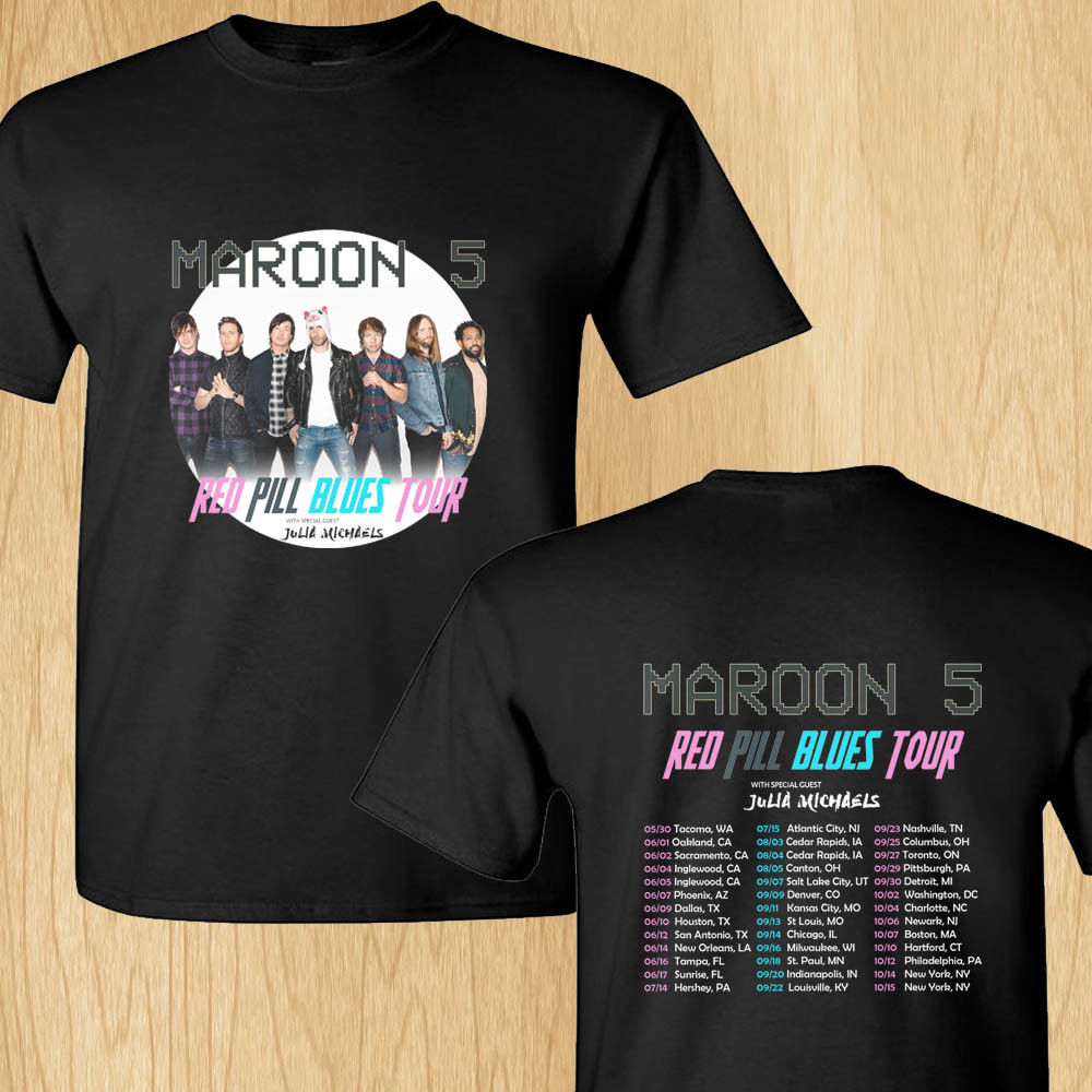 Maroon 5 Red Pill Blues summer tour 2018 black tee shirt S-3XL MenS High Quality Tops Hipster Tees Cheap Crew Neck MenS