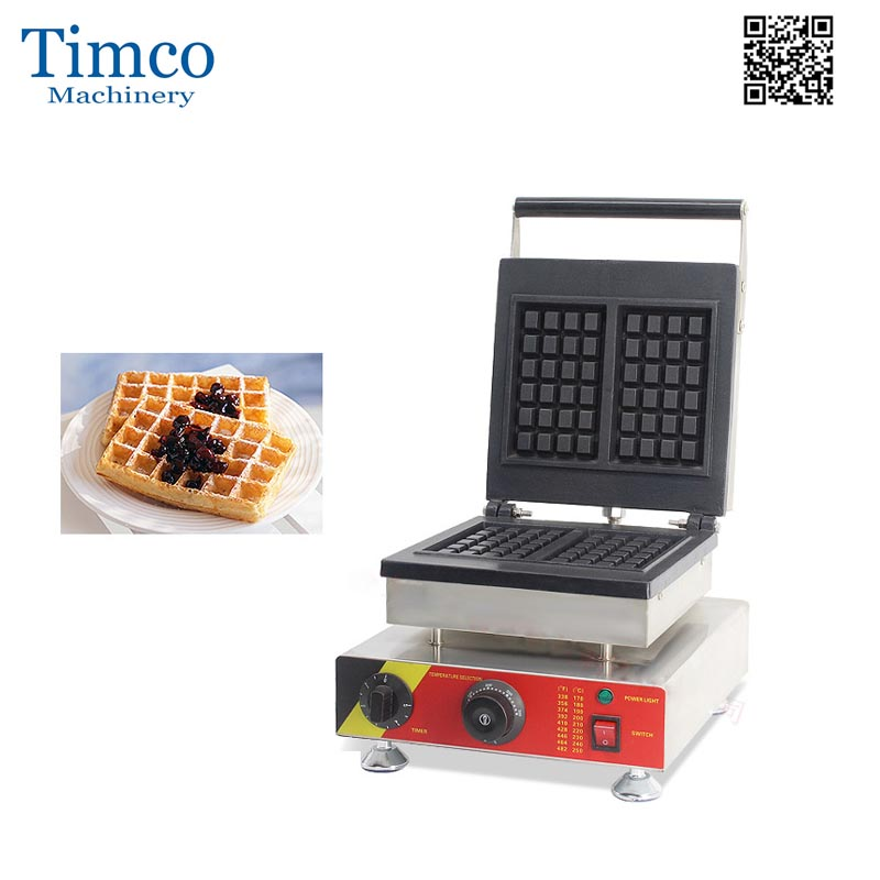 Countertop Electric Commercial Waffle Makers 1500 Watts Rectangle Heating Plate