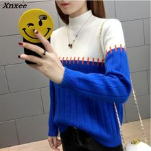 High Quality Women Sweater New Turtleneck Pullover Winter Tops Solid Autumn Female Hot Sale Xnxee
