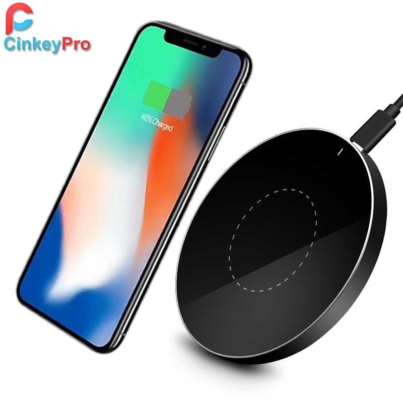 CinkeyPro QI Wireless Charger Charging Pad 5V/1A Aluminum & Acrylic Stand for iPhone 8 10 X Samsung Galaxy S6 S7 S8 Note 5 edge