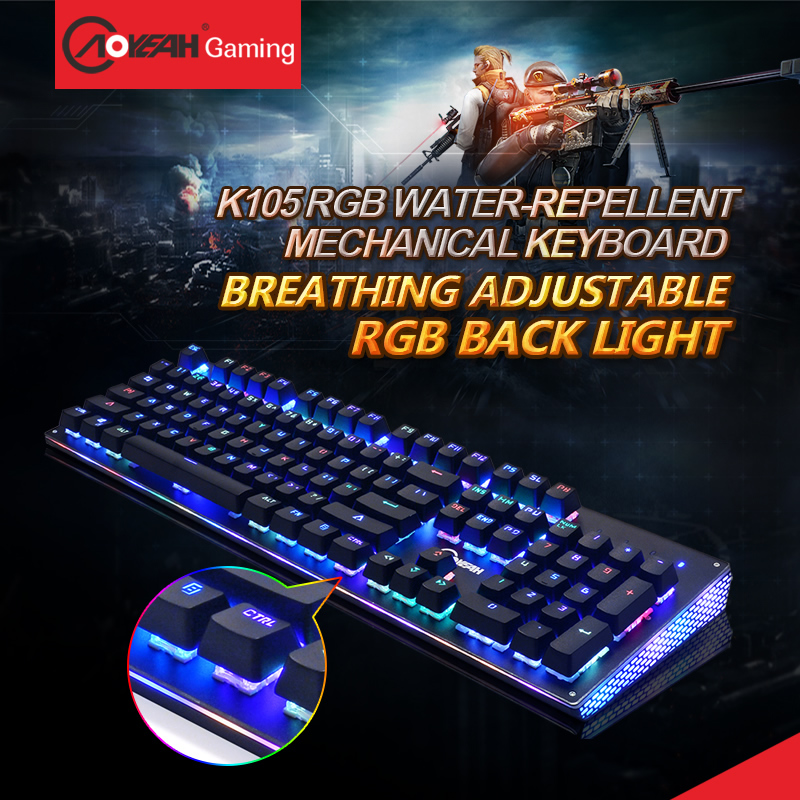 все цены на AOYEAH Water Dust Proof Led Backlit Anti-ghosting USB rgb Gaming Mechanical Keyboard With Anti-fade Keycaps For Computer&gamer онлайн