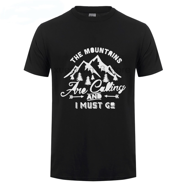 8879bf39b120e The Mountains Are Calling And I Must Go Hike Adventure Traveler Men S T  Shirt