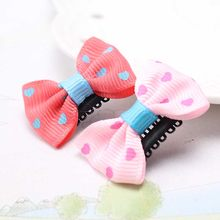M MISM 1PC New Kids Hairpins Girls Hair Accessories Cute Dot Flower Print Bow Hair Combs Girl's New Lovely Hairgrips Headwear(China)