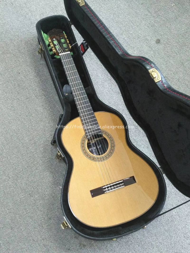 New Model 36 inch Handmade Acoustic Spanish guitar,VENDIMIA Solid Cedar/Solid Rosewood,professional Full solid Classical guitar 2016 new factory sunburst finish chibson j45 acoustic guitar classical double rhombic inlays rosewood body and sides
