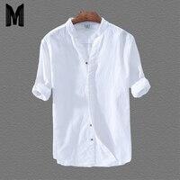 Хлопковая льняная повседневная мужская классическая белая гавайская рубашка с длинным рукавом и воротником-стойкой Y1707
