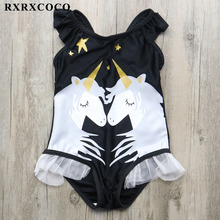 RXRXCOCO 2019 One Piece Swimsuit Unicorn Printed Baby Girls Swimwear Cartoon Beach Wear Children Bathing Suit Sleeveless Badpak