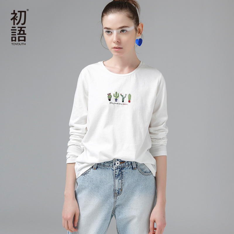 Toyouth 2018 Automne Broderie Cactus T-Shirts Femmes De Base Col Rond Manches Longues T-shirt Casual Camisetas Beige T-Shirts & Tops