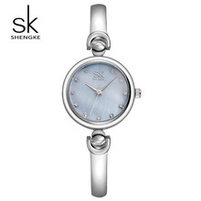 SK Model Trend Stainless Metal Wrist Watches Luxurious Ladies Gold Silver Gown Watch Quartz Watches Relogio Feminino S0013
