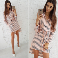 Striped Button Shirt Dress 2018 Women's Vacation Bohemian Beach Dress Sexy Deep Loose Dresses Summer Casual Women Dresses