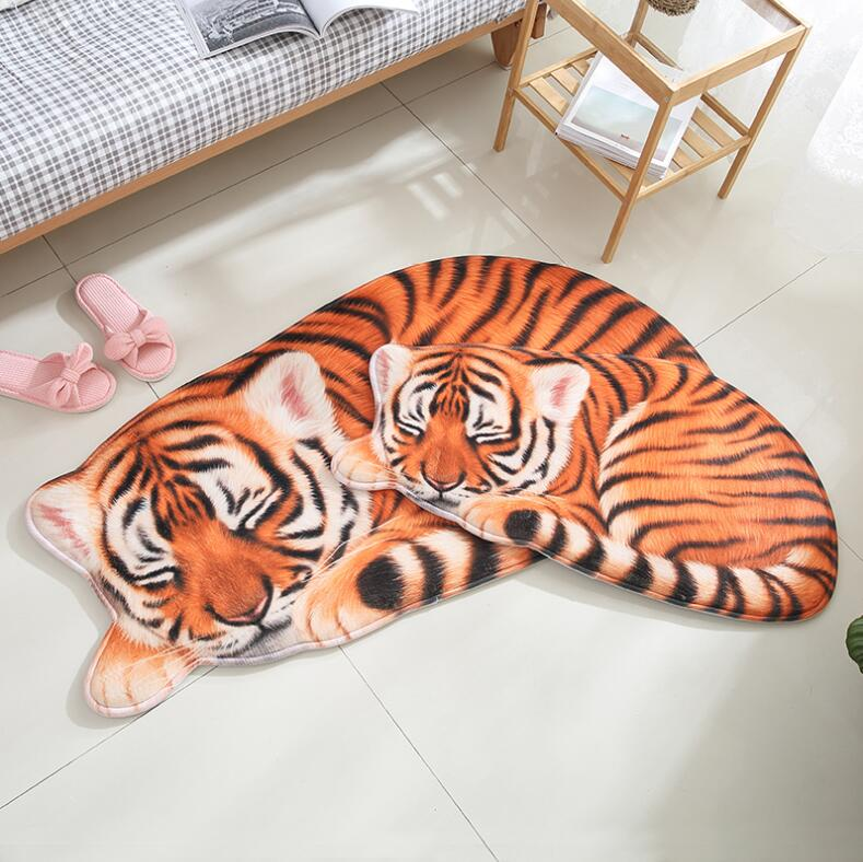 High quality handmade Lion Tiger shape washable carpet short hair Pet mat cartoon rug Kitchen Floor Mats Welcome Doormat