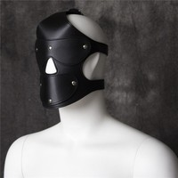 Sex Mask Adult Games Sex Products Funny Black Soft Sexy Fetish PU Leather Restraints Headgear Hood Mask Slave Men Erotic Toys