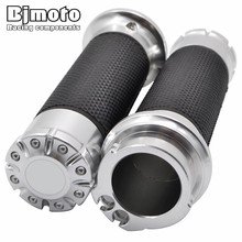 Silver Motorcycle CNC Aluminum&None Slip Gel Rubber  1 25 MM Handlebar Cross Grips  Handle Bar Grip For Harley Free Shipping