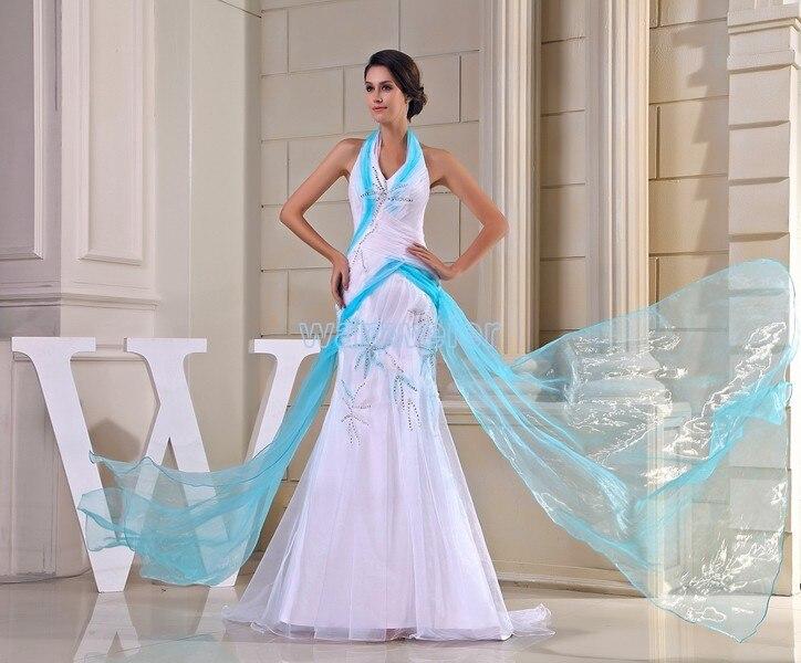 Livraison gratuite 2017 nouveau vestido noiva mode licou à lacets taille personnalisée/couleur beding blanc et bleu robe de mariée sirène