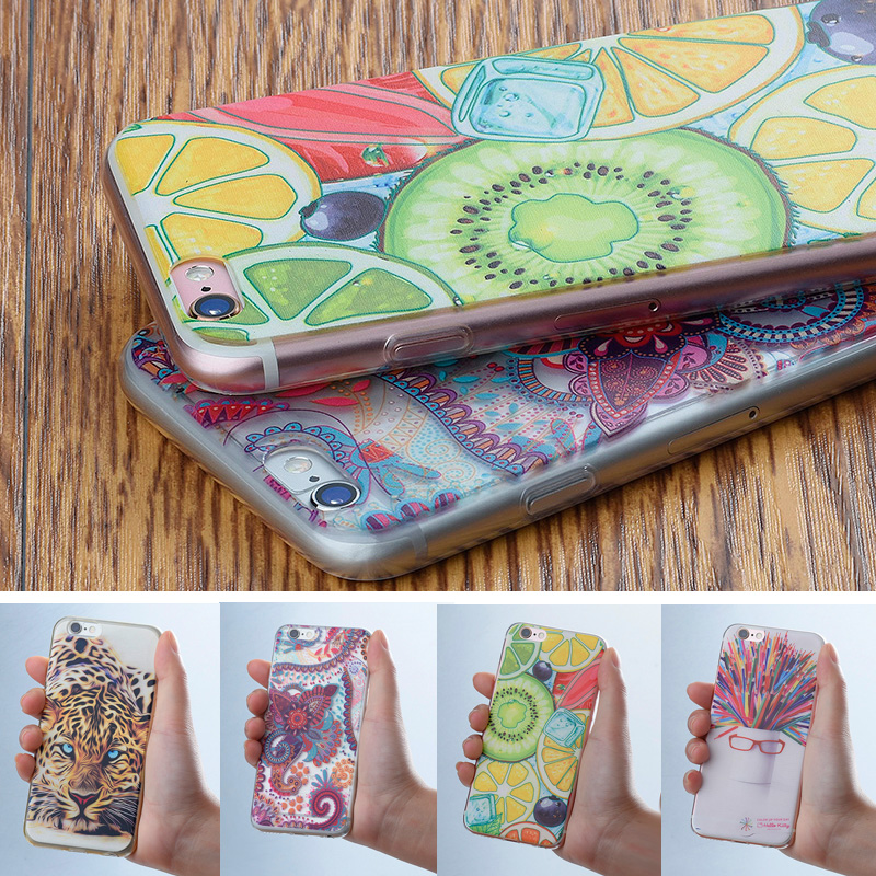 2017 animales flores patrón cajas del teléfono para iphone 7 6 6 s plus 5S SE 5
