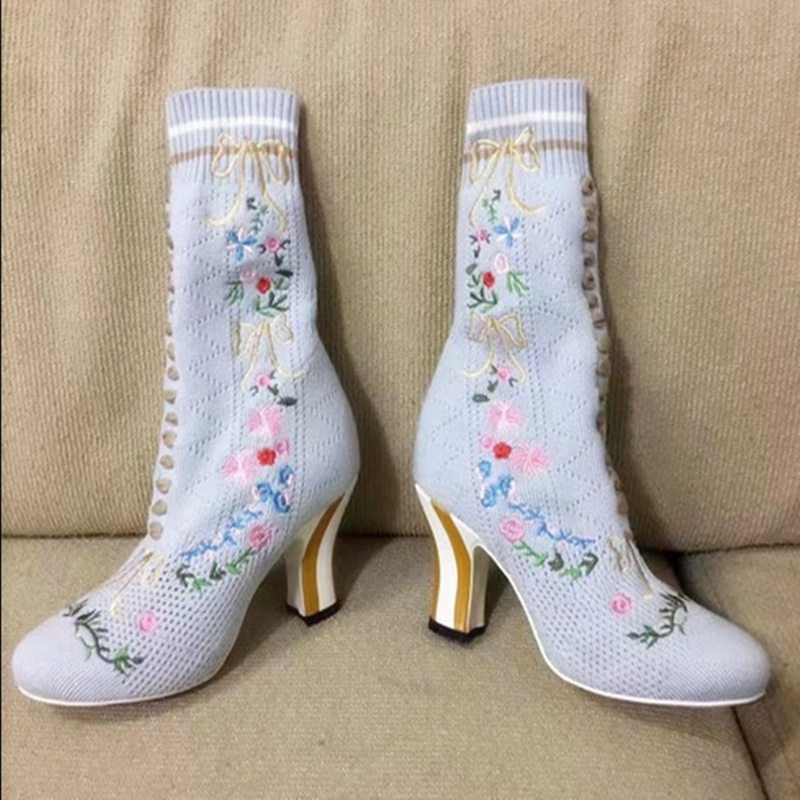 2017 Slip-on Women Mid-calf Boots High Hoof Heels with Embroidery Solid Female Boots Shoes Elegant Riding Equeatrian Women Boots