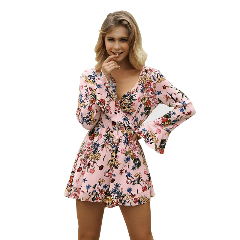 Flare Long Sleeve Flora Print Boho Romper 2018 Women Sexy Deep V Neck Loose Playsuits Top Quality Summer Beach Shorts Jumpsuits
