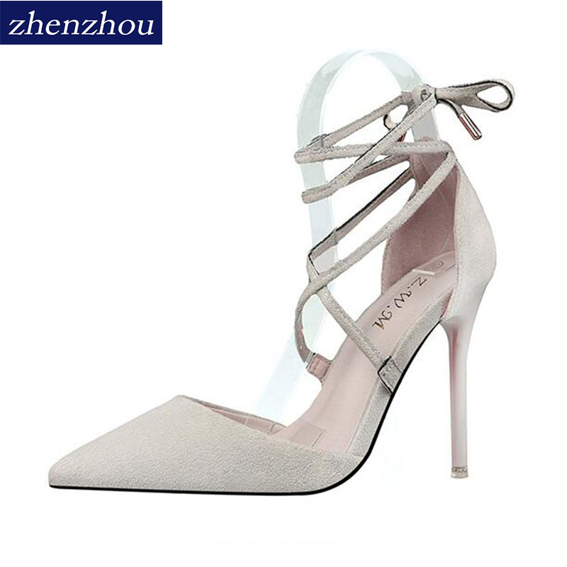 2018The suede top cross tie with a pair of high heels and a pair of shoes. ...
