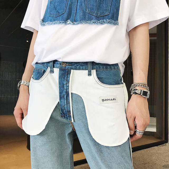 Summer thin jeans trousers boys street fashion trend patchwork color pocket harajuku  2018  High quality men's trousers