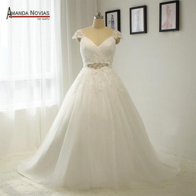 New Style Patterns Cap Sleeve V neckline wedding dresses plus size ...