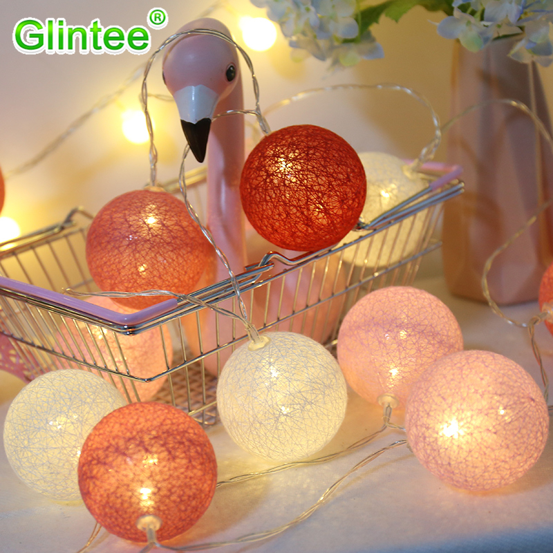 Cotton Ball String Lights Indoor Outdoor LED Battery Lighting Christmas Bedroom Room Chain Lamps Party Wedding Fairy Decoration ...