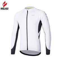 ARSUXEO Spring Summer Pro Breathable Mens Long Sleeve Cycling Jersey Reflective Bicycle Bike Shirts MTB Mountain Jerseys