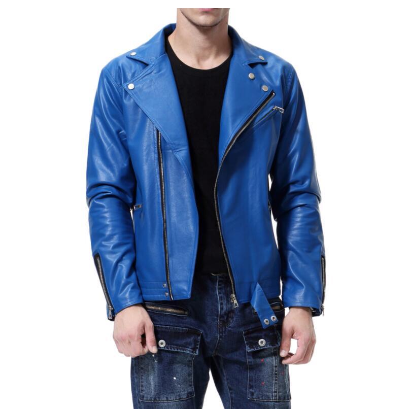 England mens leather jacket slim motorcycle coat Diagonal zipper jackets Long sleeve personalized street fashion black blue