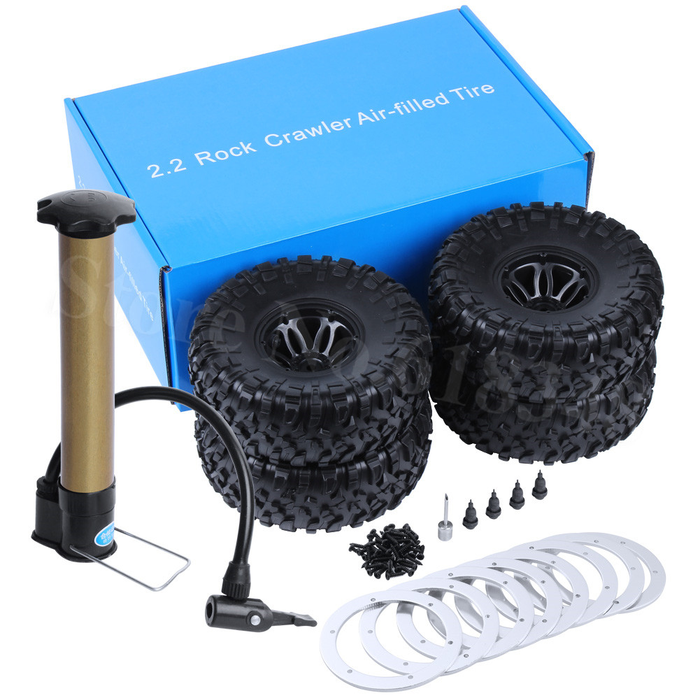 4PCS 2.2 Air Pneumatic Beadlock Wheel Rims and Tires OD:135mm Inflator Pump Included for 1/10 RC Rock Crawler Monster Truck 1 10 inflatable tires 4p set air pneumatictires with alloy beadlock wheels set f rc crawler rock crawler tires toy cars parts