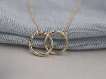 Shuangshuo Min1pc Gold and Silver Infinity Double Circles Necklace for Girls Interlocking Circles Pendant Necklace XL184