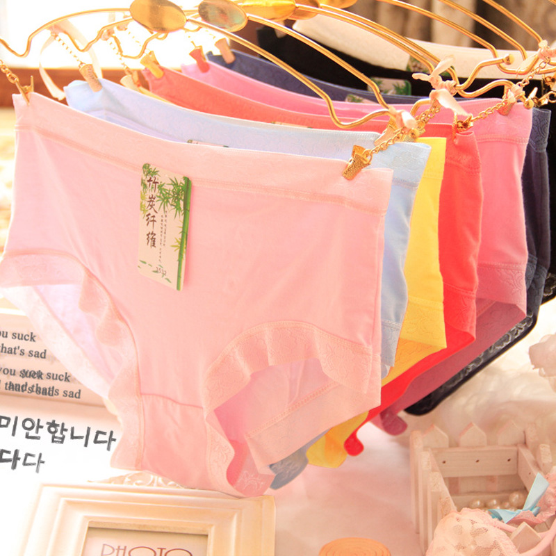 Girls' Clothing Hot Sale Briefs Young Girls Underwear Wholesales 6pc/lot Free Shipping Fashion Model Middle Waist Solid Teenagers Students Underwear