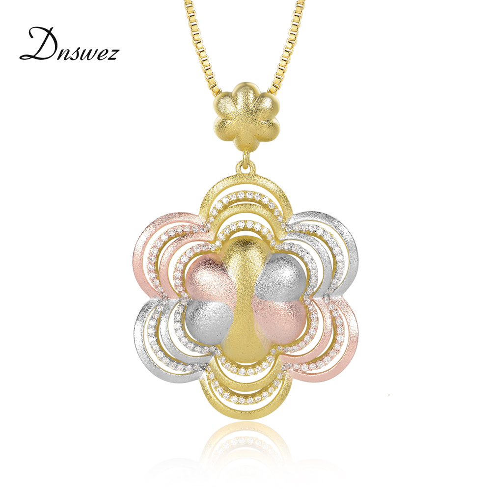 Dnswez Three Color Gold Necklace Polished TRI-COLOR GOLD AAA Level Zircon Setting Flower Pendant Necklace Female Jewel CN397