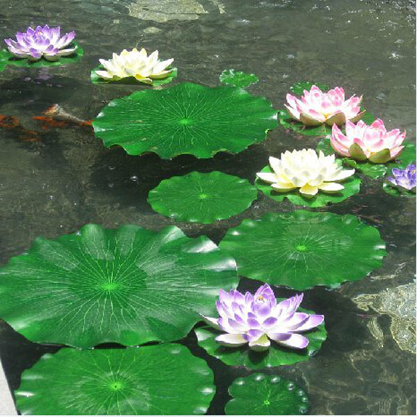 10pcs 18cm artificial lotus lotus leaf floating for Decorative pond fish
