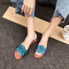 SUOJIALUN 2019 Beach Women Slippers Sandals Women Slippers Flat Heel Casual Ladies Shoes Outdoor Female Slides