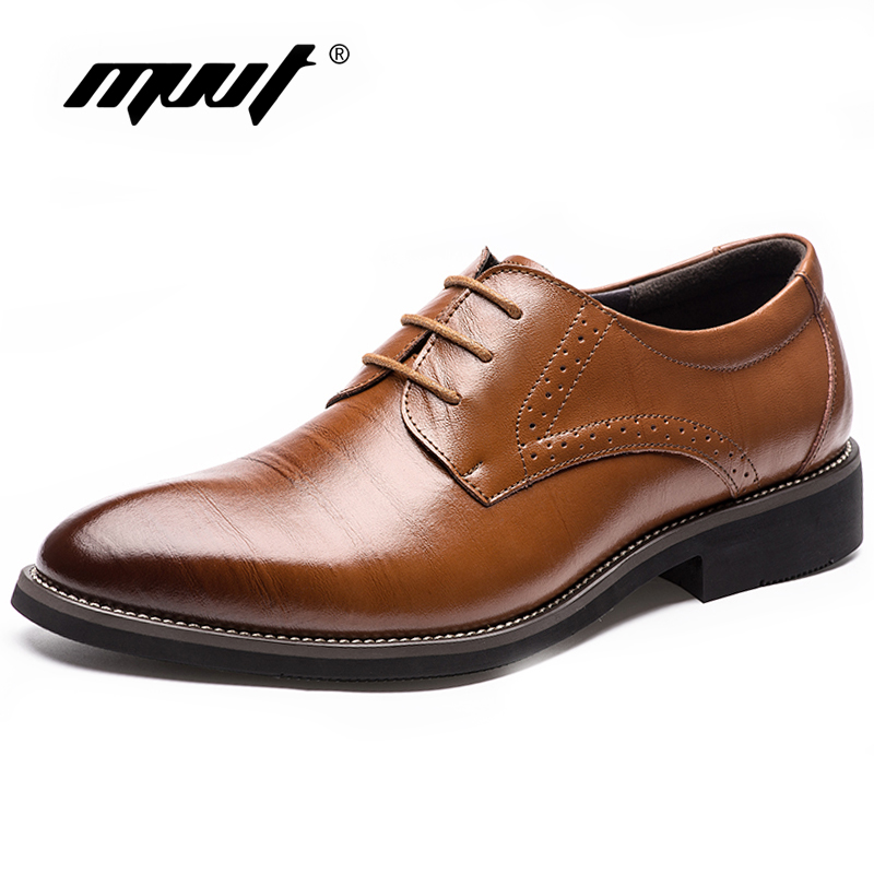 MVVT Brand Pointed Toe Men's Oxfords Formal Shoes Genuine Leather Shoes Men Dress Shoes Men Flats Wedding Shoes plus size 2016 new formal brand genuine leather high heels pointed toe oxfords punk rock men s wolf print flats shoes fpt314