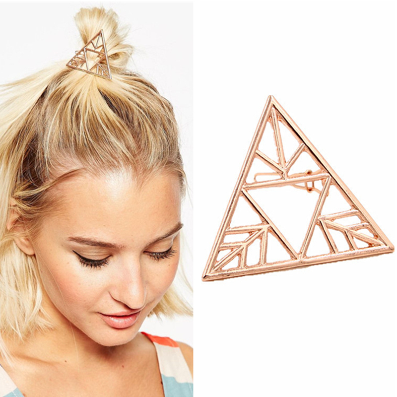 Women Hair Accessories Triangle Hairpins Rose Gold Hollow Out