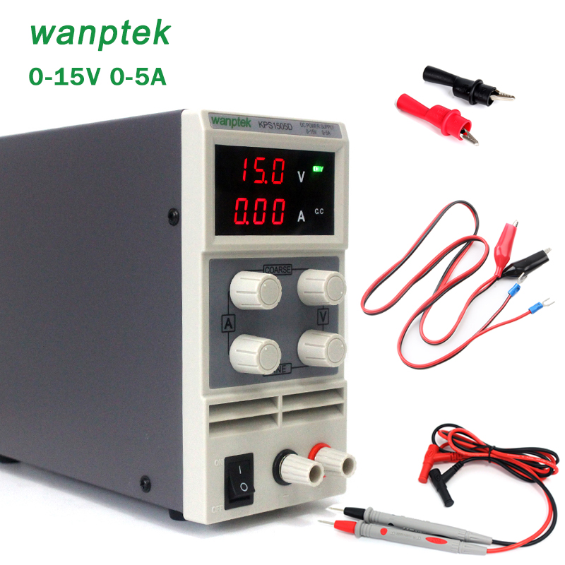 Mini Laboratory Power Supply KPS1505D Single Phase adjustable SMPS Digital Voltage regulator DC Power supply with alligator clip
