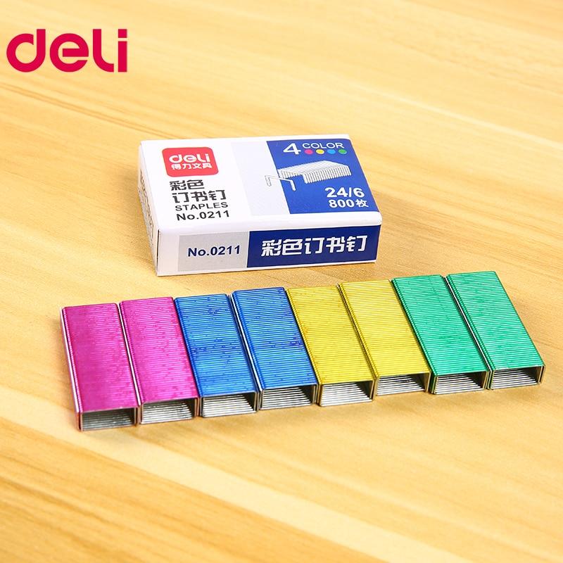 Купить с кэшбэком Deli Colored Staples 24/6 2400 pcs Staples for Stapler Paper Binding Stationary