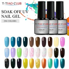 T-TIAO CLUB 296 colors Gel Nail Polish 7ml Glitter Soak Off UV Manicure for Varnish DIY Art Lacquer