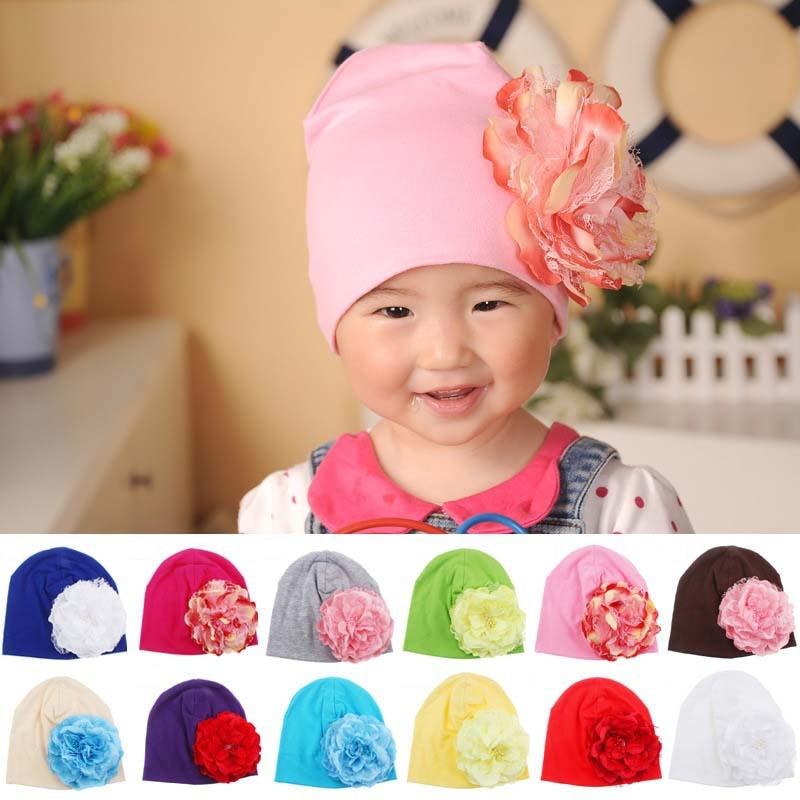 f1c6b7b6a49 Baby Flower Hat Newborn Girl Cotton Beanie Cap Peony Flower Infant Spring Hat  Children Accessories Retail