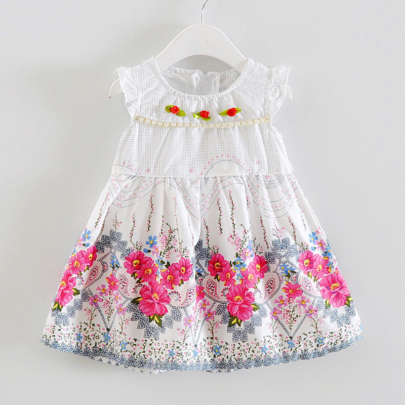 BibiCola Baby mädchen sommer mode kleid Blumen druck Sommer kleidung kinder mädchen Marke kleid Baumwolle Kinder prinzessin kleid