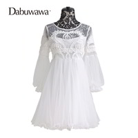 Dabuwawa Lantern Sleeve White Lace Dress Vintage Elegant High Waist Dress Tulle Short Dress Sobretudo Feminino